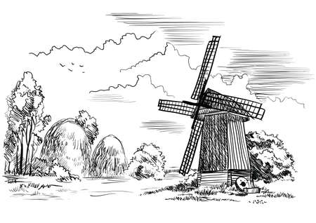 Landscape with windmill, trees and haystacks on meadow, isolated hand drawing vector illustration in black color on white background. Vettoriali