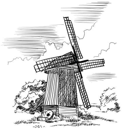 Windmill isolated hand drawing vector illustration in black color on white background Stock Illustratie
