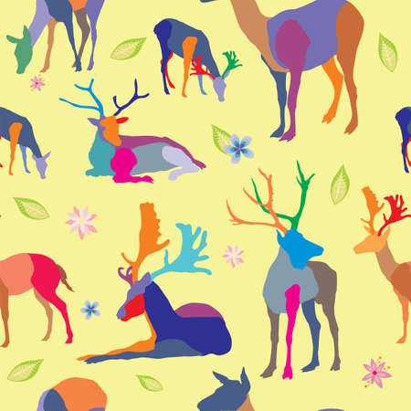 Seamless vector pattern with different color mosaic deers and flowers on yellow background.