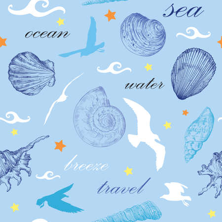 Seamless pattern with white and blue seashells and gulls on blue background. Illustration