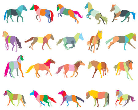 Set of mosaic vector colorful trotting and galloping horses (Norwegian fjord pony) silhouettes isolated on white background
