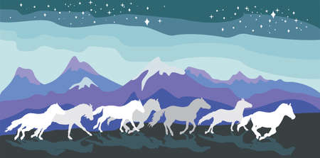Colorful vector illustration- background with horses silhouettes white and grey colors running gallop between mountains under sky with stars. Mountains landscape in night