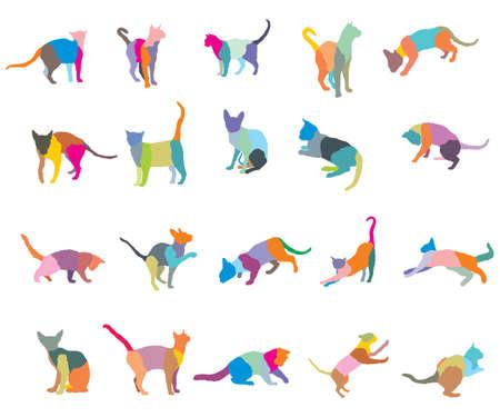 カラフルなモザイクの異なる品種猫のシルエット(座っている、立っている、横たわって、遊ぶ)白い背景に隔離。ベクターの図。