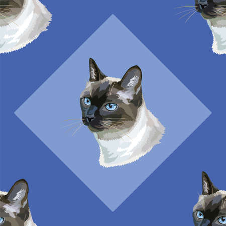 Colorful seamless pattern with portrait of Thai Cat, on blue background, vector illustration Фото со стока - 102077769