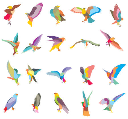 Set of vector colorful mosaic cut out flying and sitting silhouettes of eagle, hawk isolated on white background
