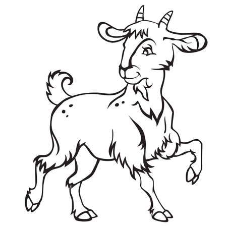 Decorative standing funny cartoon goat kid. Monochrome vector illustration in black color isolated on white background.