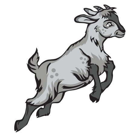 Decorative jumping funny cartoon goat kid. Colorful vector illustration in black and grey colors isolated on white background.   Ilustração