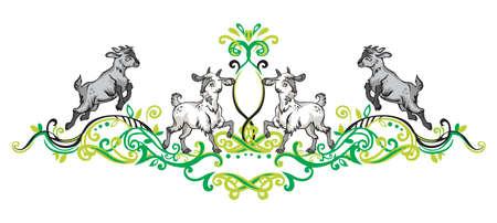 漫画の面白い立っているとジャンプヤギと緑の色で対称装飾花の装飾のカラフルなベクトルのイラスト。
