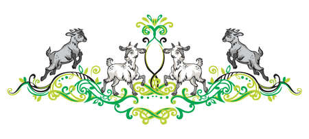 Colorful vector illustration of Symmetric decorative floral ornament in green colors with cartoon funny standing and jumping goats. Stock Illustratie