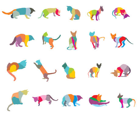 Set of colorful mosaic different breeds cats silhouettes on white background. Illusztráció