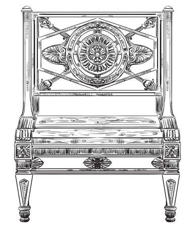 Ancient carving street bench vector hand drawing illustration in black color isolated on white background