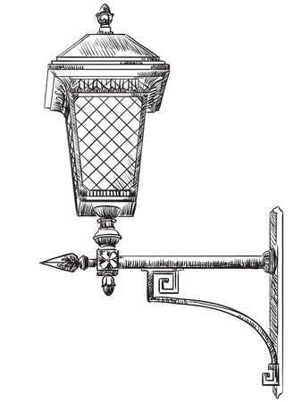 Hand drawn old street lamp vector illustration