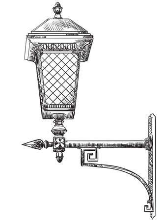 Vecchia illustrazione disegnata a mano di vettore della lampada di via
