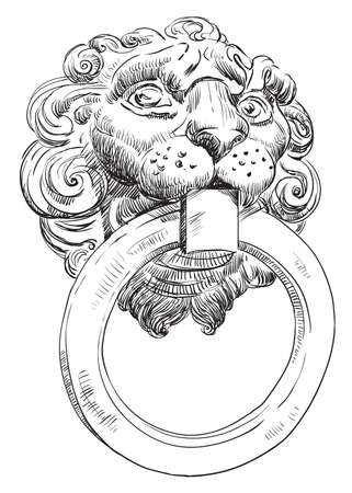 Ancient door handle in the form of a lions head with a ring in mouth, vector hand drawing illustration in black color isolated on white background.