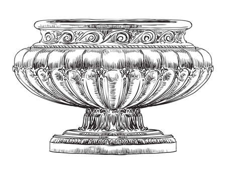 Ancient carving street vase vector hand drawing illustration in black color isolated on white background. Illustration