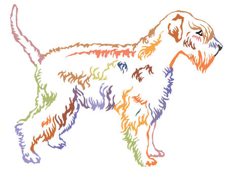 Colorful contour decorative portrait of standing in profile Soft-coated Wheaten Terrier, vector isolated illustration on white background