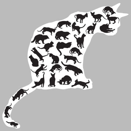 Set of different  isolated cats silhouettes (sitting, standing, lying, playing) in black color inside big sitting silhouette of cat in white color. Grey background. Vector monochrome illustration.  イラスト・ベクター素材