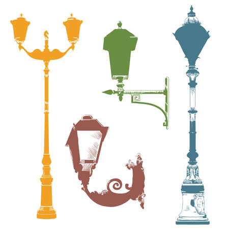 Set of ancient lanterns isolated vector hand drawing illustration in different colors on white background. Part 4