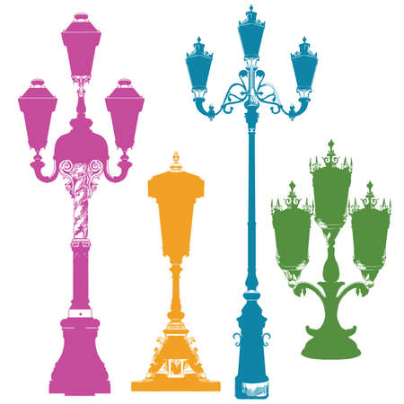 Set of ancient lanterns isolated vector hand drawing illustration in different colors on white background. Part 5