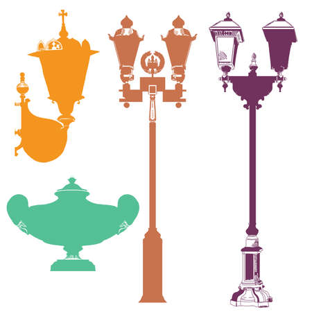 Set of ancient lanterns and decorative element isolated vector hand drawing illustration in different colors on white background. Part 6