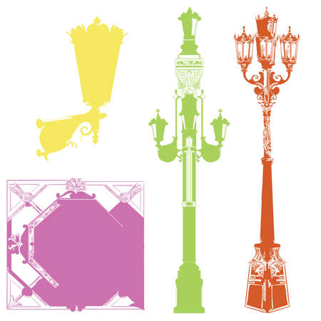 Set of ancient lanterns and decorative element isolated vector hand drawing illustration in different colors on white background. Part 7
