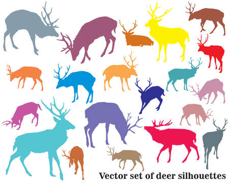 Set of vector colorful standing and lying male red deer silhouettes isolated on white background