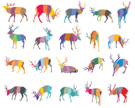 Set of colorful mosaic vector standing and lying Red deer silhouettes isolated on white background