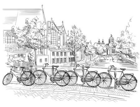 Bicicletas en el puente sobre los canales de Amsterdam, Países Bajos. Hito de Holanda. Vector ilustración de dibujo a mano en color negro aislado sobre fondo blanco. Ilustración de vector