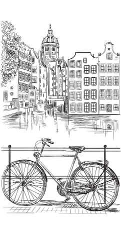 オランダ、アムステルダムの運河に架かる橋の上の自転車。オランダのランドマーク。白い背景に隔離された黒い色のベクトル手描きイラスト。