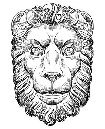 Ancient bas-relief in the form of a lions head, vector hand drawing illustration in black color isolated on white background Ilustração