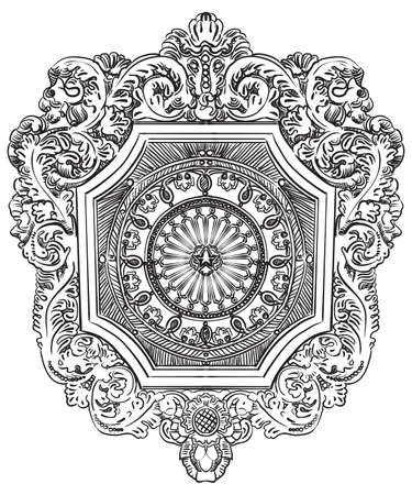 Ancient carving botanical vignette from Moscow metro, vector hand drawing illustration in black color isolated on white background