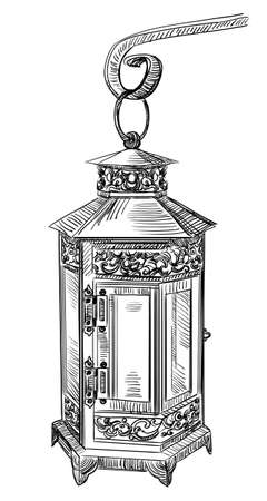 Hand drawing old street lamp. Vector monochrome illustration in black color isolated on white background.