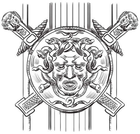 Ancient carving street  lattice with gorgon vector hand drawing illustration in black color isolated on white background
