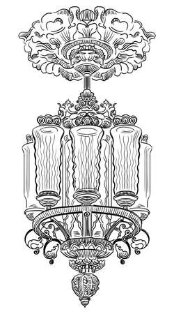Ancient carving chandelier with  stucco from Moscow metro, vector hand drawing illustration in black color isolated on white background Иллюстрация