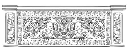 Ancient carving botanical and marine vignette with mermaids from Liteyny bridge in St. Petersburg, vector hand drawing illustration in black color isolated on white background Ilustração