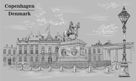 Amalienborg Square in Copenhagen, Denmark. Landmark of Denmark. Vector hand drawing illustration in black and white colors isolated on grey background.