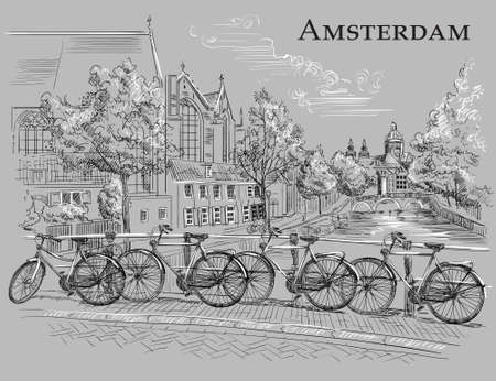 Bicycles on bridge over the canals of Amsterdam, Netherlands. Landmark of Netherlands. Vector hand drawing illustration in black and wite colors isolated on grey background.