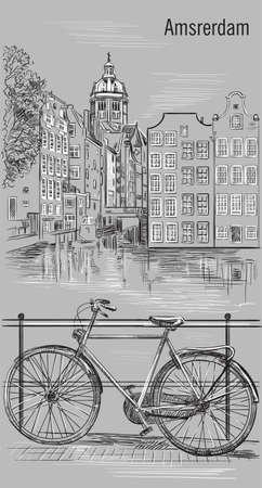 オランダ、アムステルダムの運河に架かる橋の上の自転車。オランダのランドマーク。灰色の背景に分離された白黒の色でベクター手描きのイラス