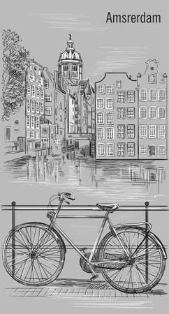 Bicycle on bridge over the canal of Amsterdam, Netherlands. Landmark of Netherlands. Vector hand drawing illustration in black and white colors isolated on grey background.
