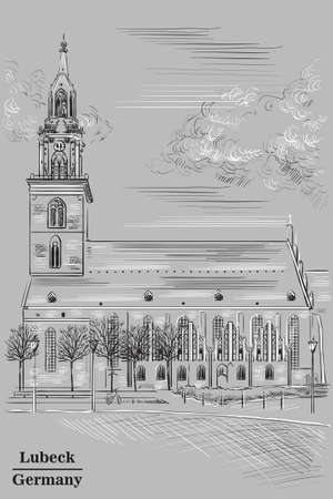Church of St. Mary in Berlin (Lubeck), Germany. Landmark of Berlin. Vector hand drawing illustration in black  and white colors isolated on grey background.