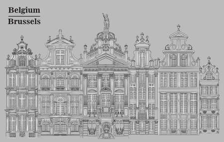 Grand Place in Brussels, Belgium. Landmark of Belgium. Vector hand drawing illustration in black and white colors isolated on grey background. 向量圖像