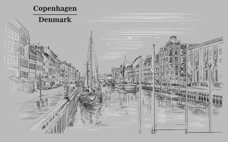 Pier in Copenhagen, Denmark. Landmark of Denmark. Vector hand drawing illustration in black and white colors isolated on grey background.