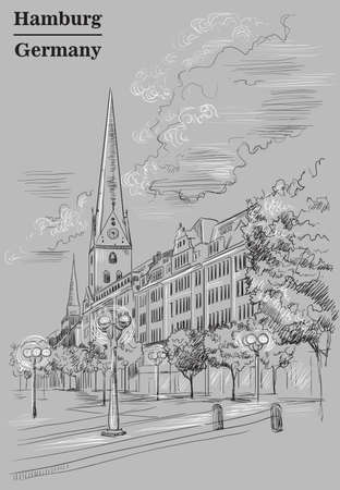 View of Hauptkirche St. Peters Church in Hamburg, Germany. Landmark of Hamburg. Vector hand drawing illustration in black and white colors isolated on grey background.