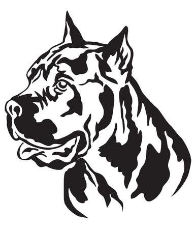 Decorative portrait in profile of dog Cane Corso Italiano, vector isolated illustration in black color on white background Illustration