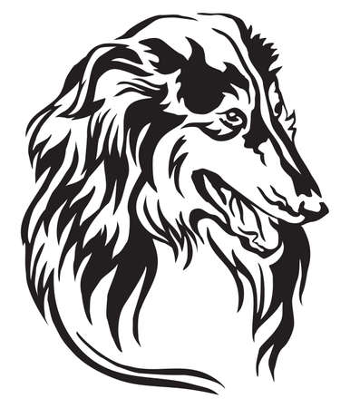 Decorative portrait in profile of dog Collie, vector isolated illustration in black color on white background