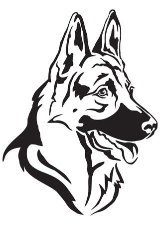 Decorative portrait in profile of dog German shepherd, vector isolated illustration in black color on white background Foto de archivo - 102824852