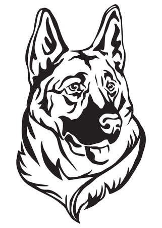 Decorative portrait of dog German shepherd, vector isolated illustration in black color on white background Vettoriali