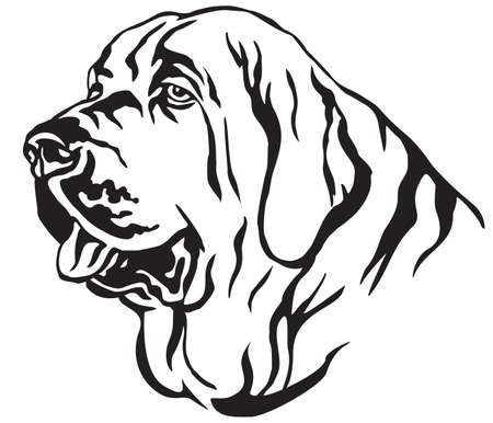 Decorative portrait in profile of dog Spanish Mastiff, vector isolated illustration in black color on white background