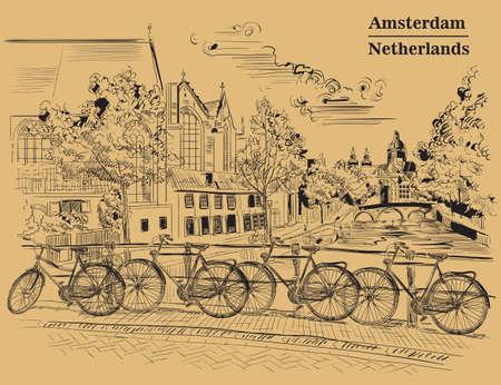 オランダ、アムステルダムの運河に架かる橋の上の自転車。オランダのランドマーク。茶色の背景に隔離された黒い色のベクトル手描きイラスト。  イラスト・ベクター素材