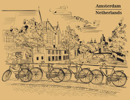 Bicycles on bridge over the canals of Amsterdam, Netherlands. Landmark of Netherlands. Vector hand drawing illustration in black color isolated on brown background.
